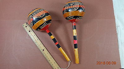 PAIR OF Vintage Haiti Detailed Carved Painted Gourd Shaker Rattle Rumba Maracas