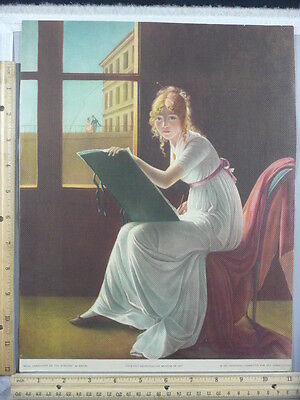 Rare Antique Orig VTG Young Woman Drawing Marie-Denise Villers Litho Art Print