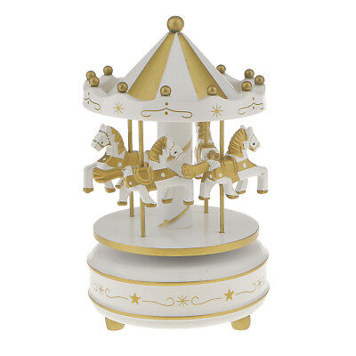 Vintage Horse Carousel Music Box Kids Wind Up Toy Table Decor White Golden