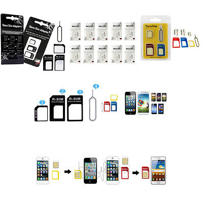 10x Nano Sim Card To Micro Standard Adapter Converter Set Iphone5/5s&4/4s 3Color