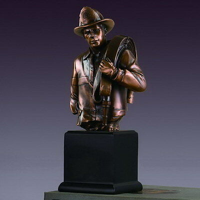 New Bronze plated Polyresin Firefighter Bust on base