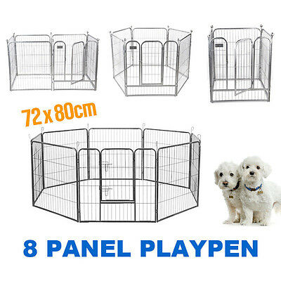 8 Panels Heavy Duty Dog Cat Rabbit Playpen Enclosure Fence Pet Cage 17KG