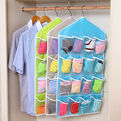 16 Pockets Over Door Hanging Organizer Bag Sock Rack Hanger Storage Organizer