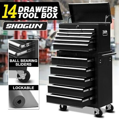 14 Drawer Mechanic Tool Box Storage Cabinet Chest Trolley Roller Toolbox Black