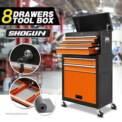 8 Drawers Tool Box Chest Cabinet Toolbox Castor Trolley Roller Storage Mechanic