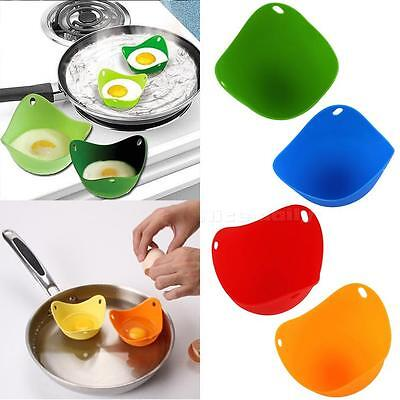 New 2Pcs Silicone Nontoxic Egg Poacher Tray Fried Cooker Boiler Kitchen Tool NCY