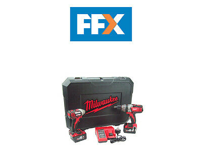 Milwaukee M18BPP2A-402C 18v Twin Pack Combi Hammer Drill and Impact 2 x 4.0Ah
