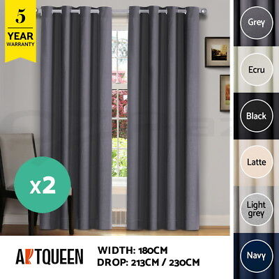 2X Blockout Curtains 180x230CM 3 Layers Eyelet Room Darkening Drape Fabric
