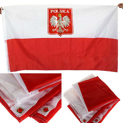 Gaint Polish flag Polish Eagle Flag Polish State Crest National  35.4*59.1 Inch