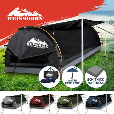 Weisshorn Double King Single Swag Camping Swags Canvas Free Standing Dome Tent