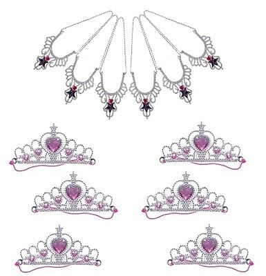 6 x TIARAS & 6 x  JEWEL NECKLACE SET ~ LOOT / PARTY BAG FILLERS ~ KIDS PARTIES