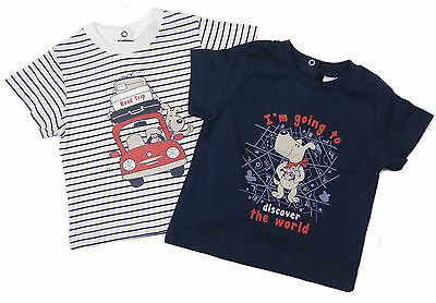 Baby Boys T-shirts Two Pack  100% Cotton 3-6 and 6-9 Months Only Sporty Teddy
