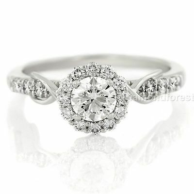 1.37 ct white round moissanite wt 925 sterling silver fancy halo engagement ring