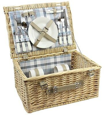 2 Person Traditional Large Willow Wicker Picnic Basket Hamper Set W/ Blue Check