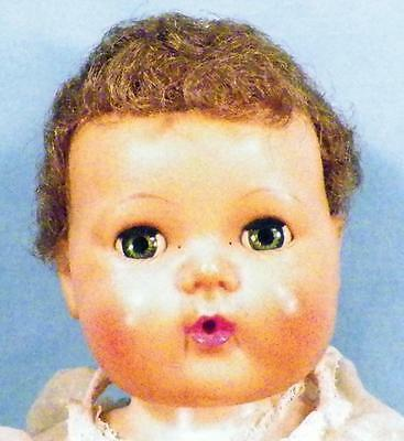 American Character Tiny Tears Doll 1950s Vintage Rubber 13 in Crack in Leg