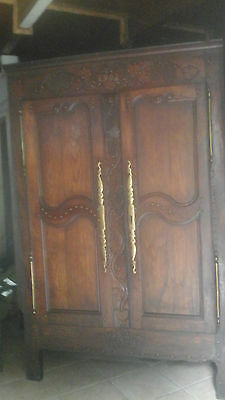 Large Solid Oak Carved French Linen Press/armoire/cupboard Dated 1904!!keys/lock