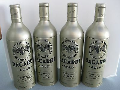 4 BACARDI  Gold Rum Bottle Aluminum Tin Canister Covers Removable Lids