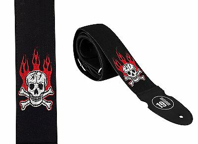 Deluxe GUITAR STRAP embroidery Skull & bones red flames embroidered cotton UK