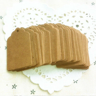 100PCS Kraft Paper Hang Tags Birthday Party Favor Gift Label Brown Cards LACA