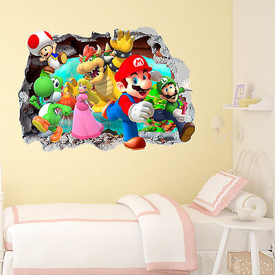Mario Gang Smashed wall Crack Kids Boy Girls Bedroom Vinyl Decal Sticker Gift