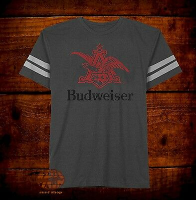 New Budweiser Bud Eagle Beer Mens Striped Sleeve Classic Retro T-Shirt