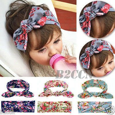 Cute Newborn Baby Girl Kids Headband Bow Rabbit Flower Toddler Hair Band Turban