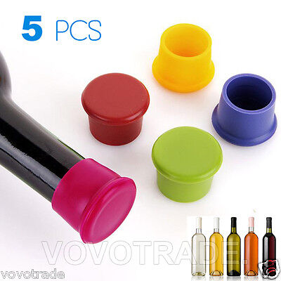 Pack of 5 Assorted Colors Silicone Reusable Wine Bottle Caps/Beer Sealer Cover