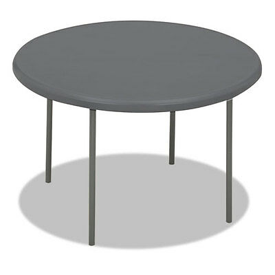 Iceberg Indestructables Too 1200 Series Resin Folding Table 48 Dia X29H Charcoal