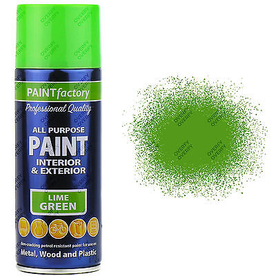 2 x 400ml All Purpose Lime Green Gloss Spray Paint Household Car Plastic