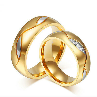 6MM 18K Gold Plated Stainless Steel Couple Ring Men/Women Wedding Band Size 5-13