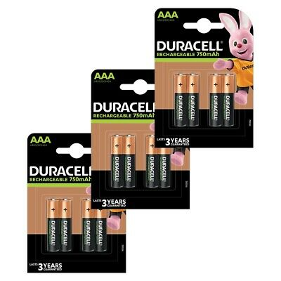 12x Duracell AAA 750 mAh Rechargeable Batteries NiMH ACCU LR03 HR03 MN2400 Phone