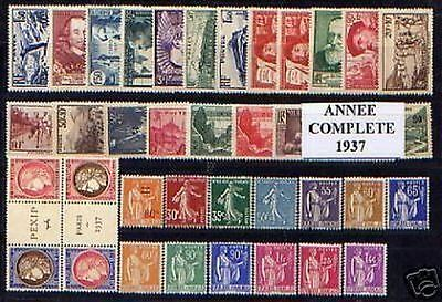FRANCE STAMP ANNEE COMPLETE 1937 : 38 TIMBRES NEUFS xx LUXE , VALEUR: 998€