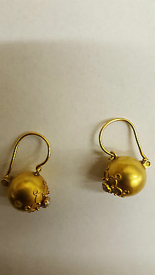 Antique Etruscan 18Ct Gold Seed Pearl Earrings