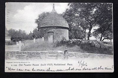 c.1905 Postcard Old Powder House, Marblehead, Mass. Rotograph No. A 7192  Posted