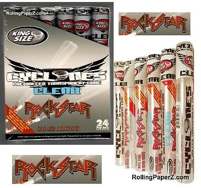 """6 X CYCLONES """"ROCK STAR"""" King Size Clear Flavored Pre-Rolled Ready to Fill Cones"""
