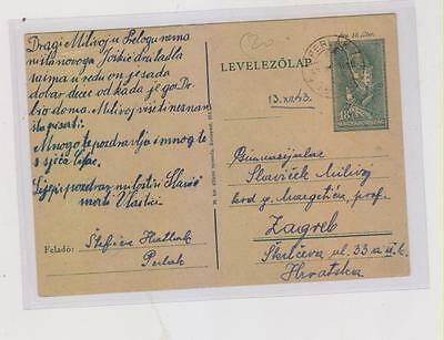 CROATIA,WW II,HUNGARY,PRELOG PERLAK postal stationery to Zagreb,1943