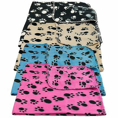 Pet Blanket Dogs & Puppy Cat Soft Warm Fleece Bed Travel Basket Car Paw Print