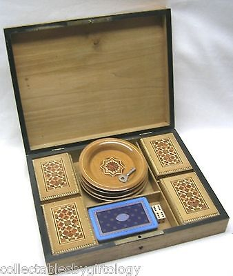 Marquetry Inlay Card Game Box + 4 Boxes Cow Bone Gaming Chips Counters Antique