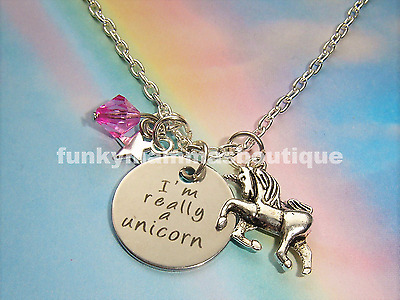 I'm Really A Unicorn Charms Necklace Silver Ladies Girls Gift Bag Or Box