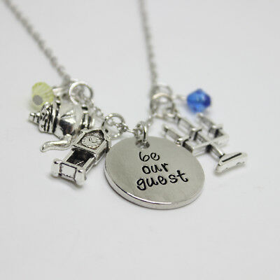 Be Our Guest Charms Necklace Beauty And The Beast Lumiere Cogsworth Mrs Potts