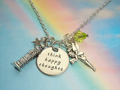 Think Happy Thoughts Charms Necklace Peter Pan Tinkerbell Inspired