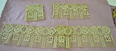Amazing Antique Arts And Crafts Italian Lace Collar And Cuffs Ss88