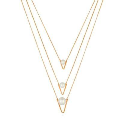 BERRICLE Rose Gold-Tone Simulated Pearl V Shaped Fashion Layered Necklace