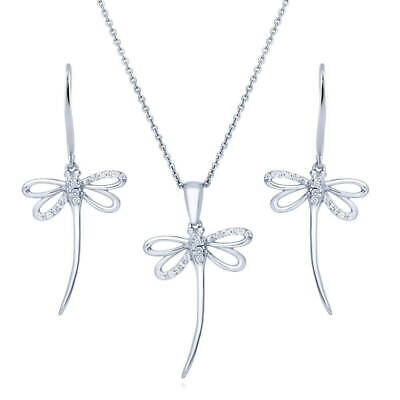 BERRICLE Sterling Silver CZ Dragonfly Fashion Necklace and Earrings Set