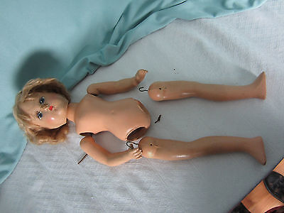 Antique Doll Needs Repairs Parts About 15 ins tall Unmarked Blond Mohair wig