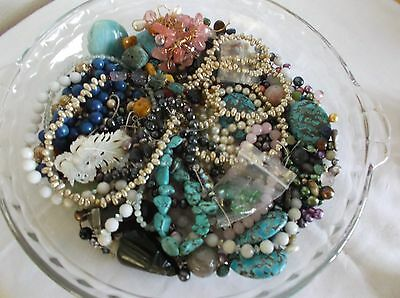 909 grams Scrap Jewelry, loose Pearls and Beads, few wearable pcs,