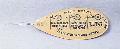 Vintage Tin Needle Threader Sewing Tool Blue Off White Enamel Collectible