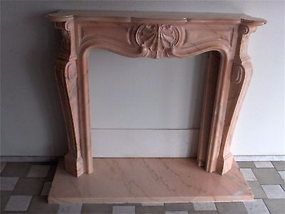 Imported Italy Marble Fireplace Mantel Surround Color Rose Aurora Carved Stone