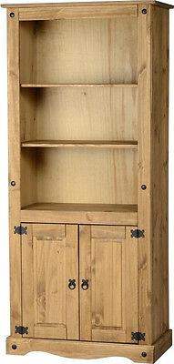 Corona Mexican Waxed Pine 2 Door Bookcase Display Cabinet Unit Free P&P - NEW