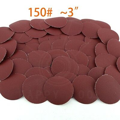 """50pcs 3"""" 150 Grit Sanding Disc Sandpaper Hook and Loop Rotary Polishing Cleaning"""